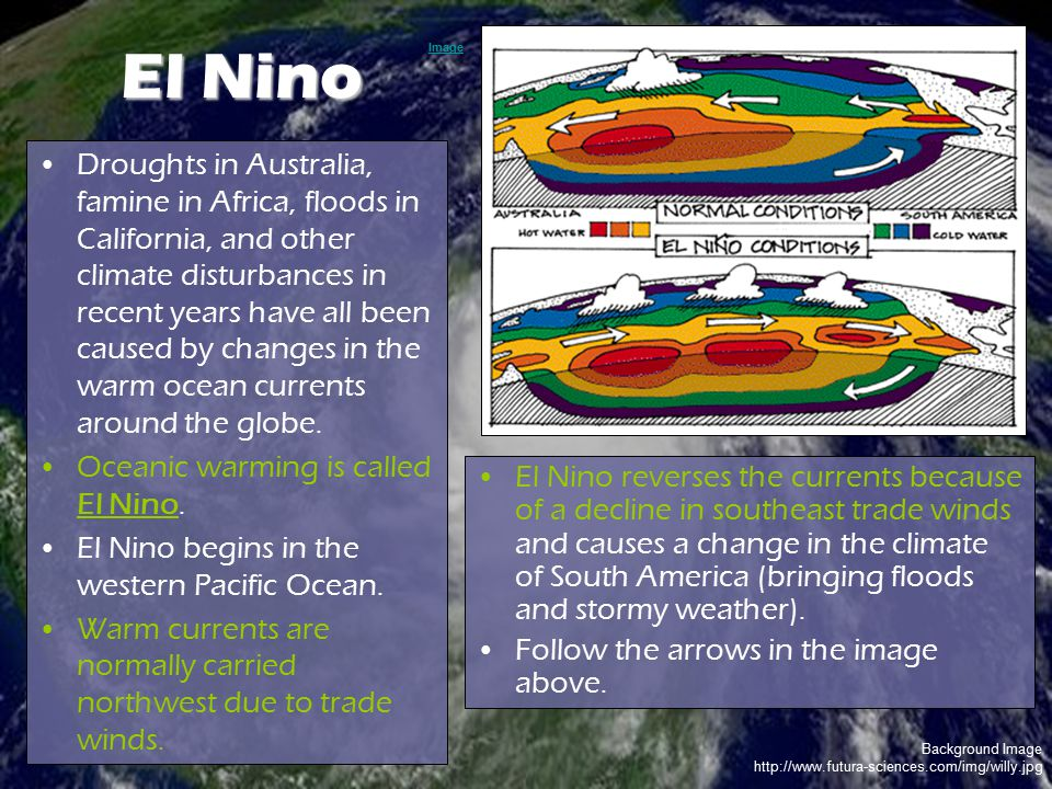 Background Image http://www.futura-sciences.com/img/willy.jpg El Nino Droughts in Australia, famine in Africa, floods in California, and other climate