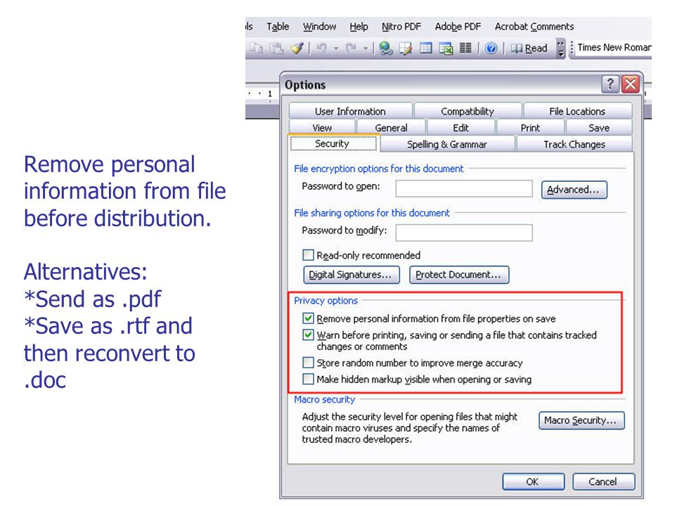 Remove personal information from file before distribution.