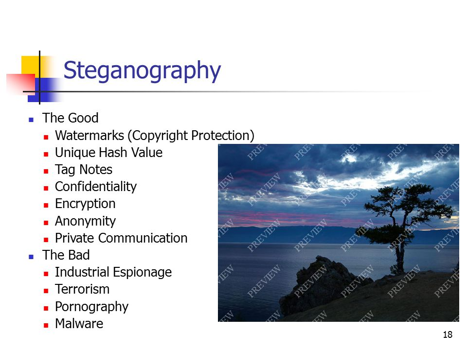 The Good Watermarks (Copyright Protection) Unique Hash Value Tag Notes Confidentiality Encryption Anonymity Private Communication The Bad Industrial E