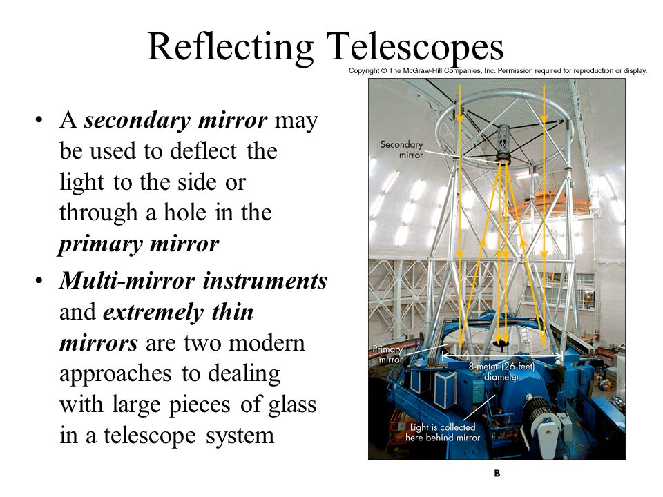 Reflecting Telescopes A secondary mirror may be used to deflect the light to the side or through a hole in the primary mirror Multi-mirror instruments