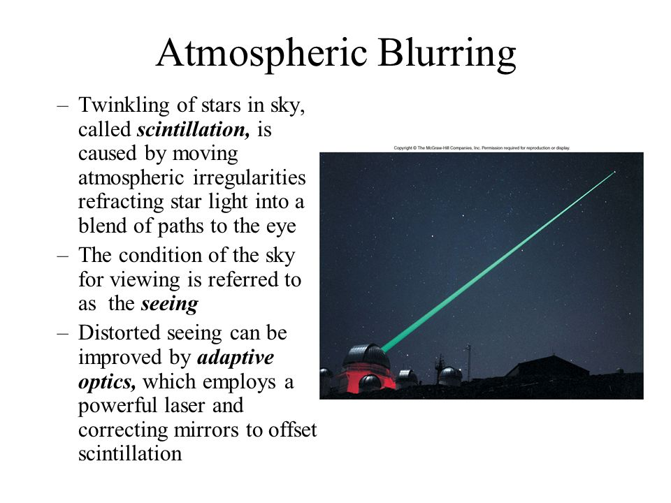 Atmospheric Blurring –Twinkling of stars in sky, called scintillation, is caused by moving atmospheric irregularities refracting star light into a ble