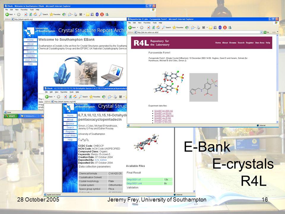 28 October 2005Jeremy Frey, University of Southampton16 E-Bank E-crystals R4L