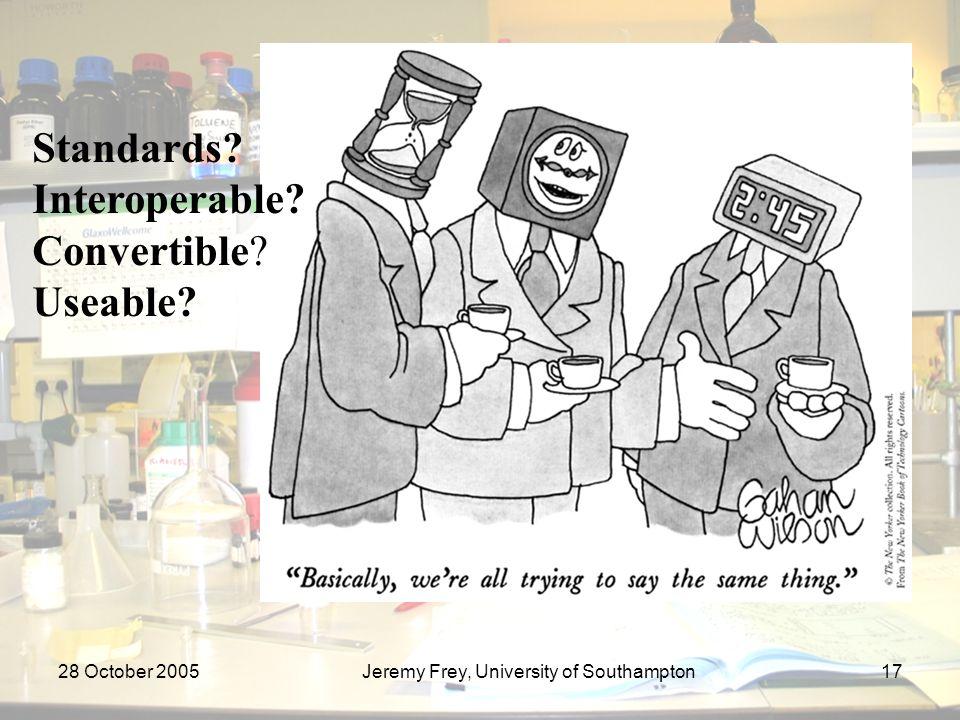 28 October 2005Jeremy Frey, University of Southampton17 Standards.