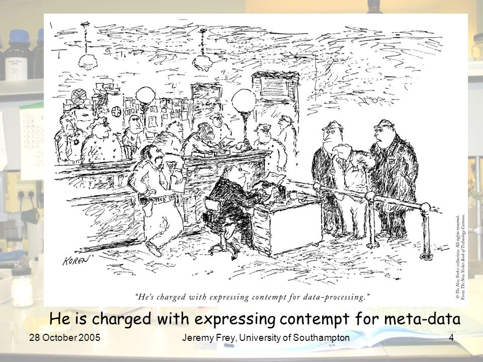 28 October 2005Jeremy Frey, University of Southampton4 He is charged with expressing contempt for meta-data