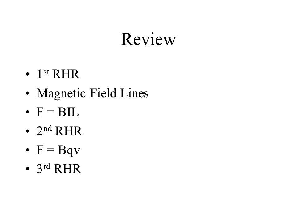 Review 1 st RHR Magnetic Field Lines F = BIL 2 nd RHR F = Bqv 3 rd RHR
