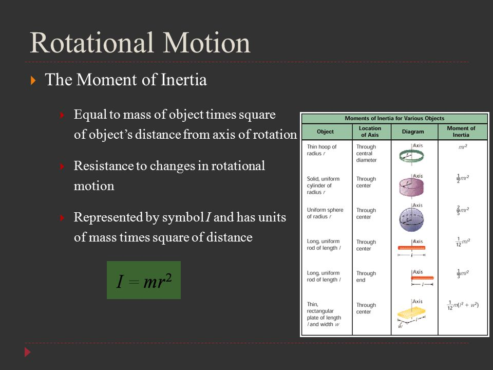 Rotational Motion  The Moment of Inertia  Equal to mass of object times square of object's distance from axis of rotation  Resistance to changes in
