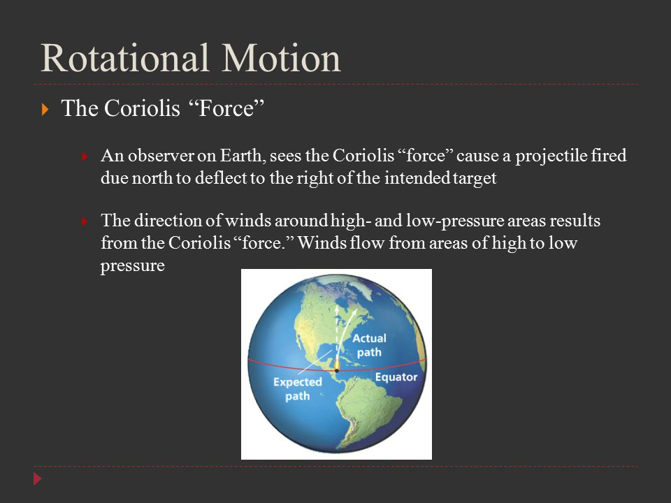 "Rotational Motion  The Coriolis ""Force""  An observer on Earth, sees the Coriolis ""force"" cause a projectile fired due north to deflect to the right"