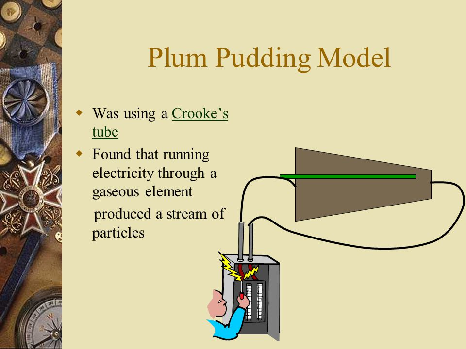 Plum Pudding Model  Was using a Crooke's tubeCrooke's tube  Found that running electricity through a gaseous element produced a stream of particles