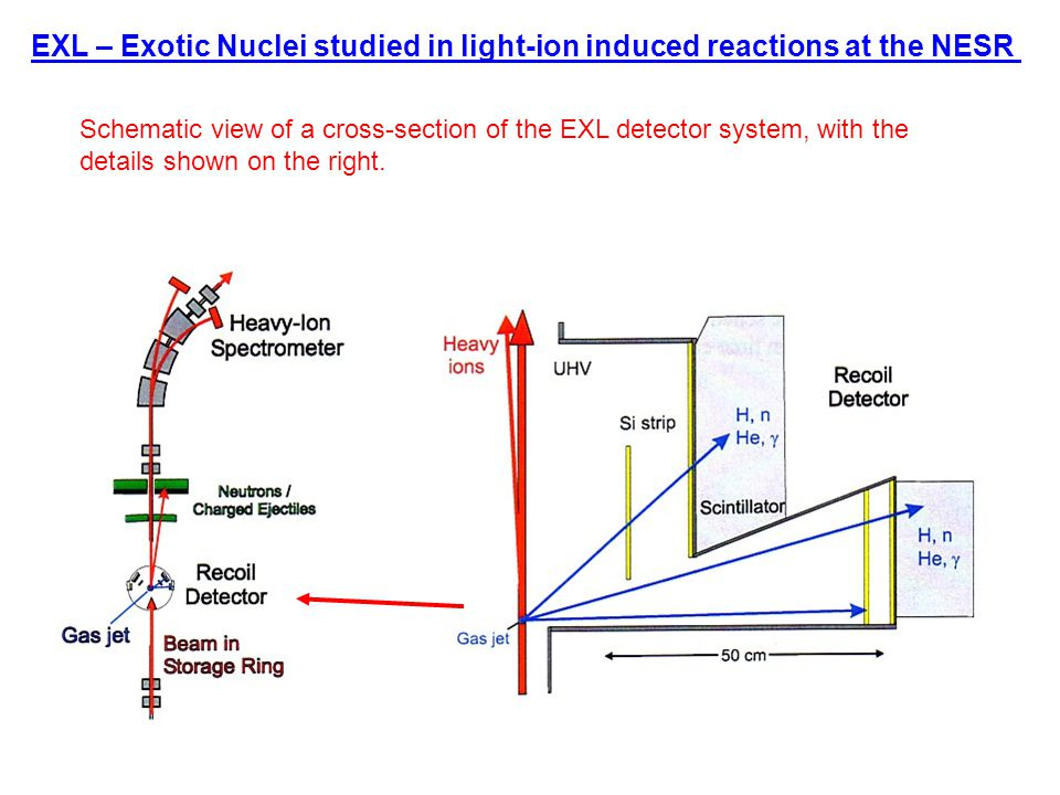 EXL – Exotic Nuclei studied in light-ion induced reactions at the NESR Schematic view of a cross-section of the EXL detector system, with the details shown on the right.