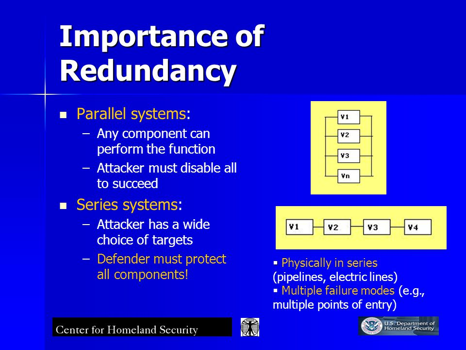 Importance of Redundancy Parallel systems: – –Any component can perform the function – –Attacker must disable all to succeed Series systems: – –Attacker has a wide choice of targets – –Defender must protect all components.