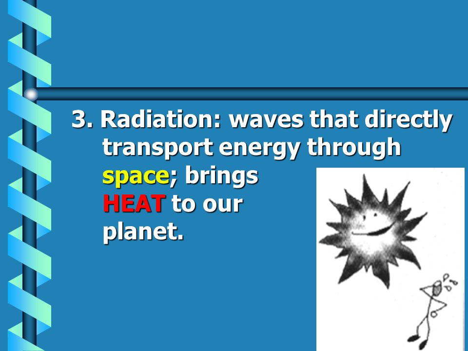 2. Conduction: transfer of heat energy through matter from particle to particle; most effective in solids.