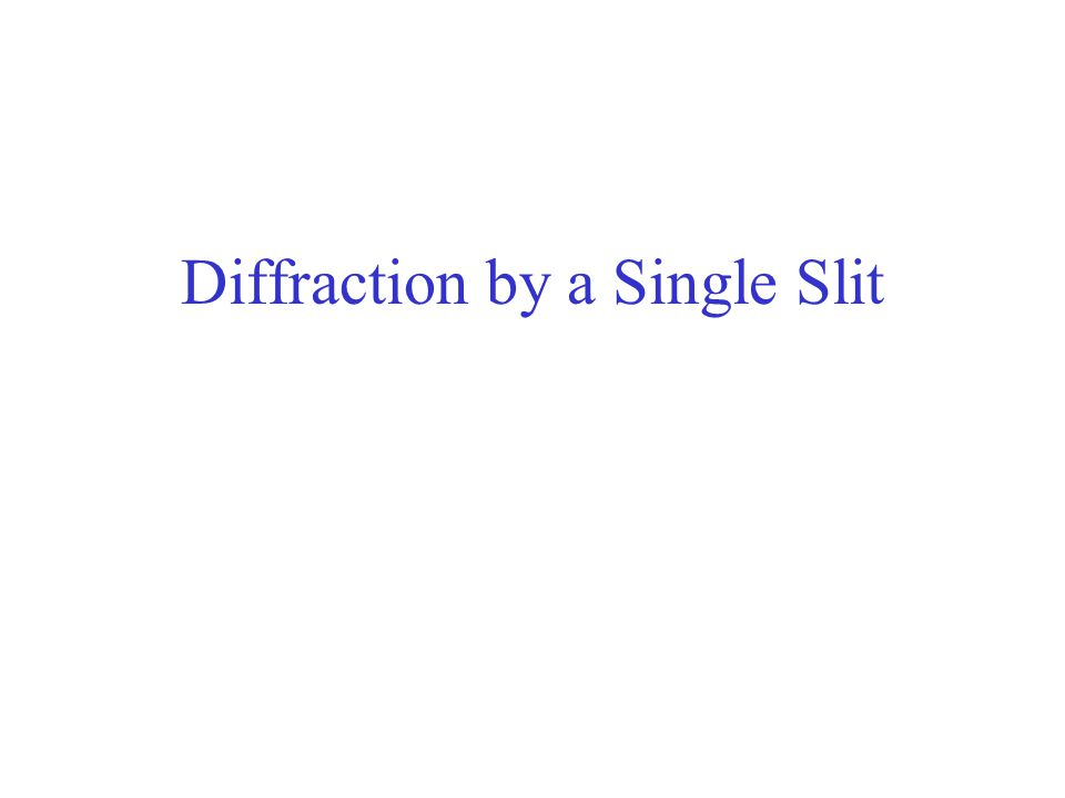 Diffraction by a Single Slit