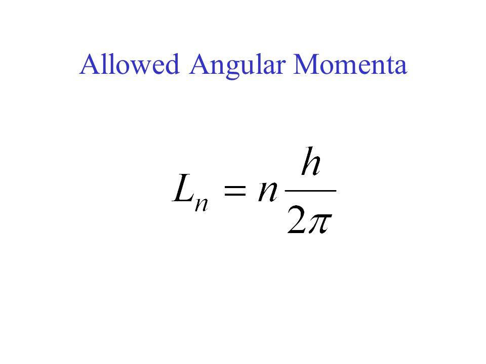 Allowed Angular Momenta
