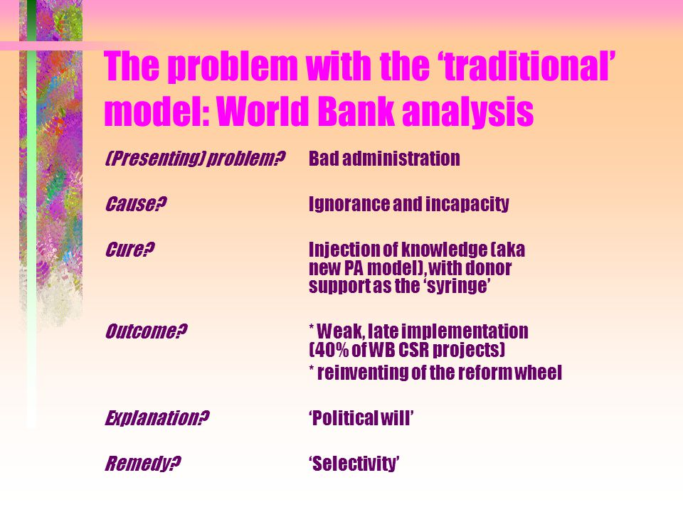 The problem with the Bank analysis What is 'political will', and why is it so often missing.