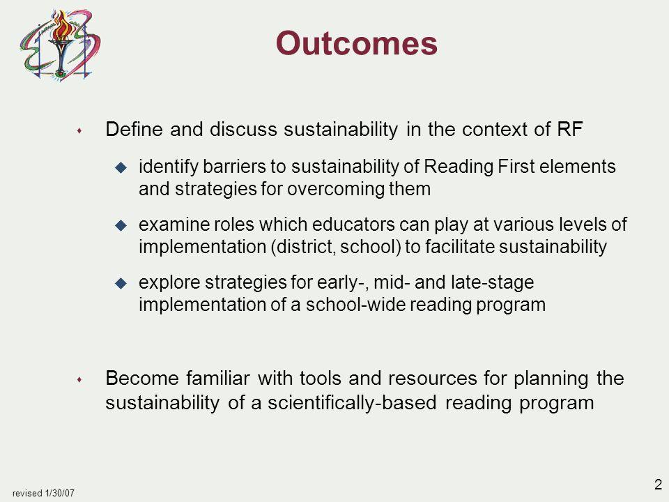 3 revised 1/30/07 Sustaining RF: A Premise...