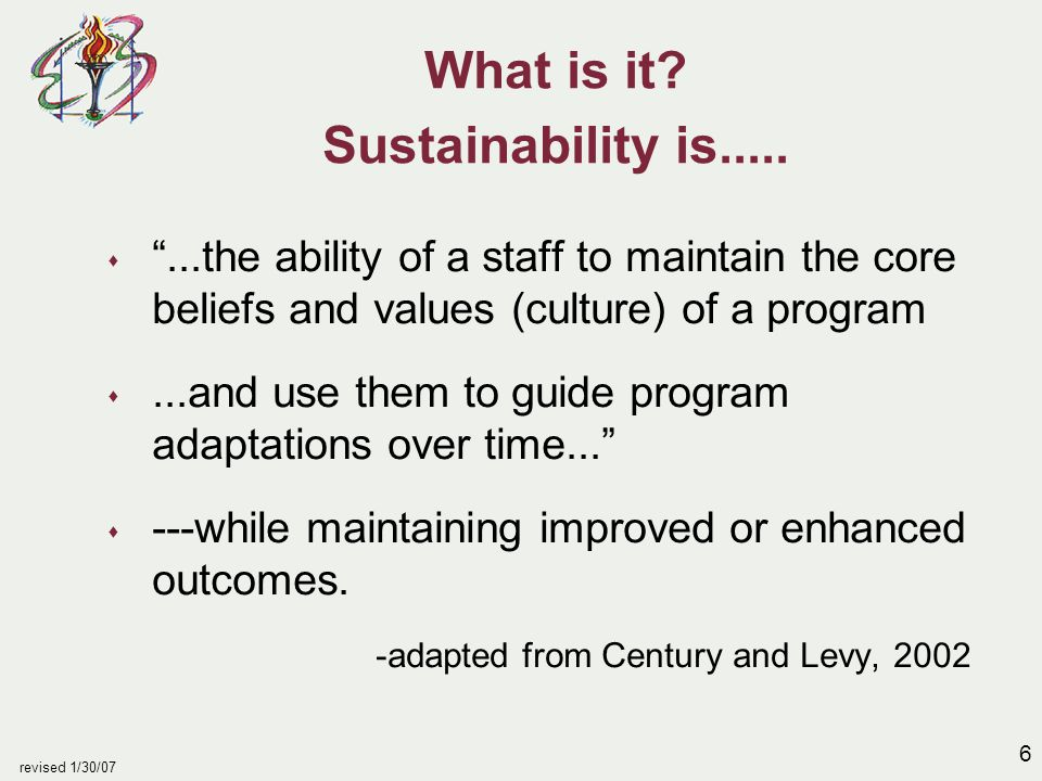 27 revised 1/30/07 Sustainability at the district level - continued s superintendent and school board u provide adequate funding to support instructional staff, materials and training needed for reading improvement u develop calendars and schedules which support reading goals u align district goals and in-service activities w/school priorities u seek support for reading improvement through community contacts u show up at the school to acknowledge staff efforts and ask, How can we support you?