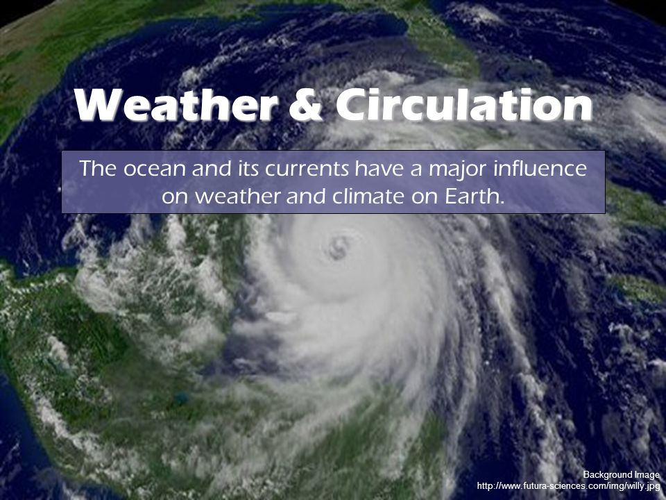 Background Image http://www.futura-sciences.com/img/willy.jpg Weather & Circulation The ocean and its currents have a major influence on weather and climate on Earth.