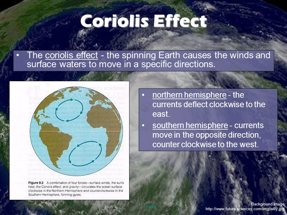 Background Image http://www.futura-sciences.com/img/willy.jpg Coriolis Effect The coriolis effect - the spinning Earth causes the winds and surface waters to move in a specific directions.