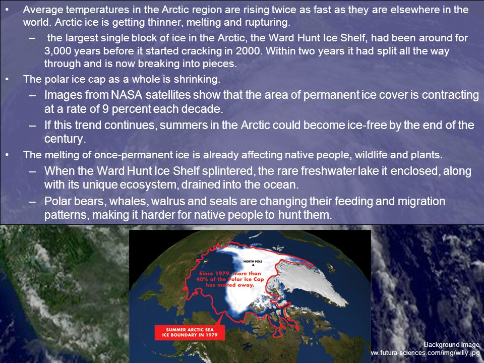 Background Image http://www.futura-sciences.com/img/willy.jpg Average temperatures in the Arctic region are rising twice as fast as they are elsewhere in the world.