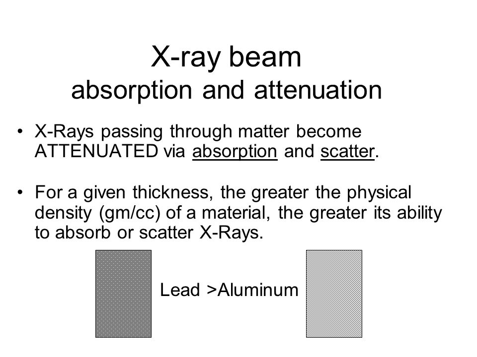 X-ray beam absorption and attenuation X-Rays passing through matter become ATTENUATED via absorption and scatter.