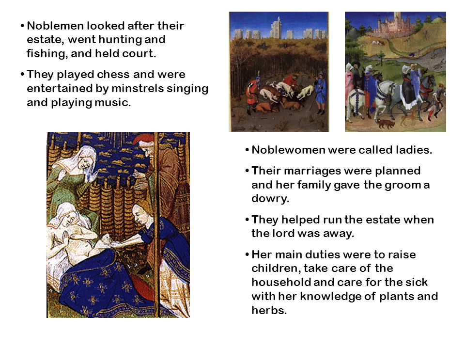 Noblemen looked after their estate, went hunting and fishing, and held court.