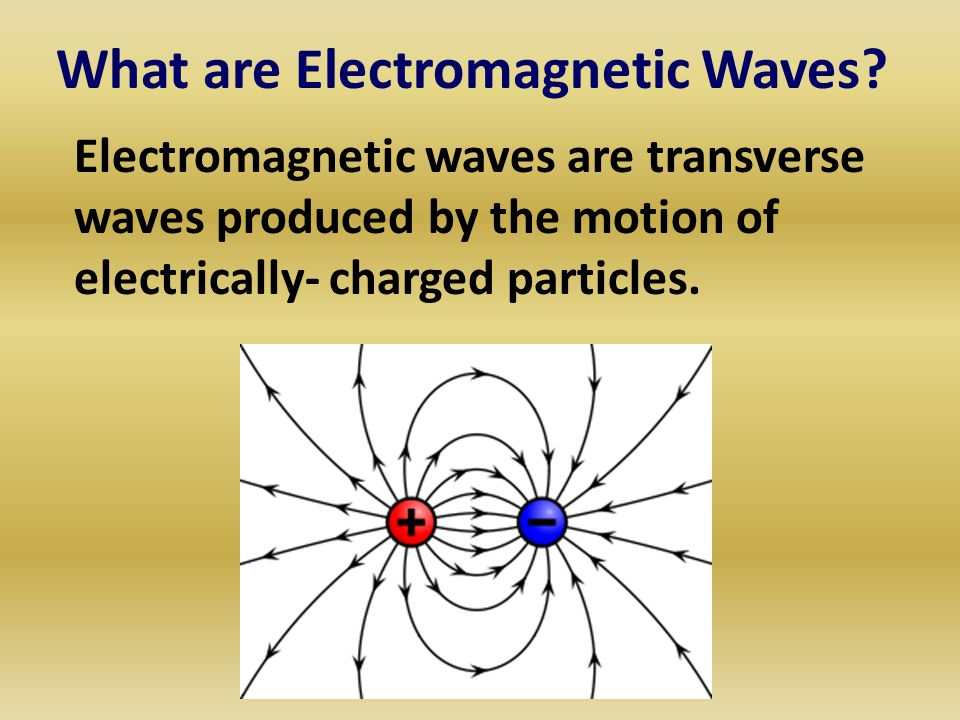 What are Electromagnetic Waves? Electromagnetic waves are transverse waves produced by the motion of electrically- charged particles.