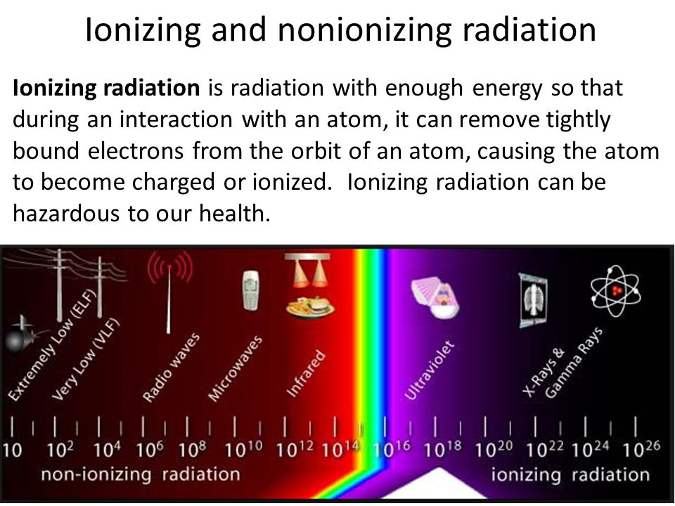Ionizing and nonionizing radiation Ionizing radiation is radiation with enough energy so that during an interaction with an atom, it can remove tightl