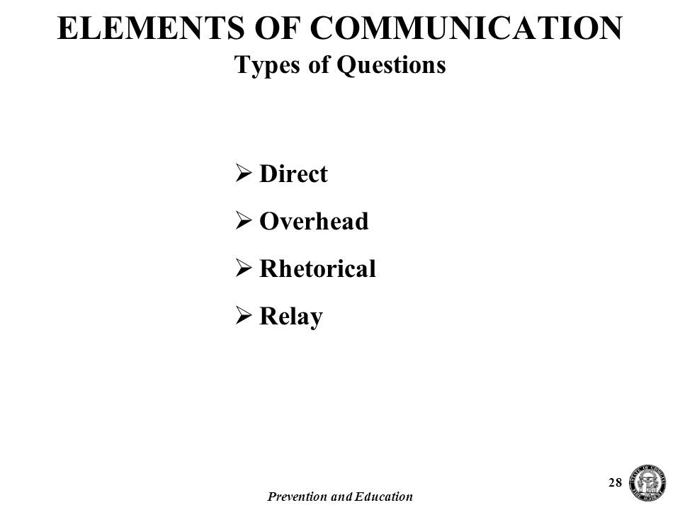 Prevention and Education 28 ELEMENTS OF COMMUNICATION Types of Questions  Direct  Overhead  Rhetorical  Relay
