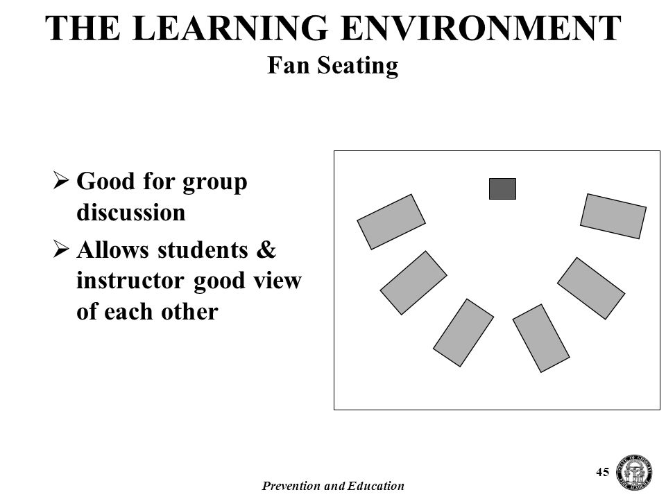 Prevention and Education 45  Good for group discussion  Allows students & instructor good view of each other THE LEARNING ENVIRONMENT Fan Seating