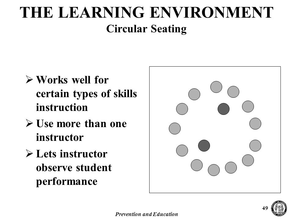 Prevention and Education 49  Works well for certain types of skills instruction  Use more than one instructor  Lets instructor observe student performance THE LEARNING ENVIRONMENT Circular Seating