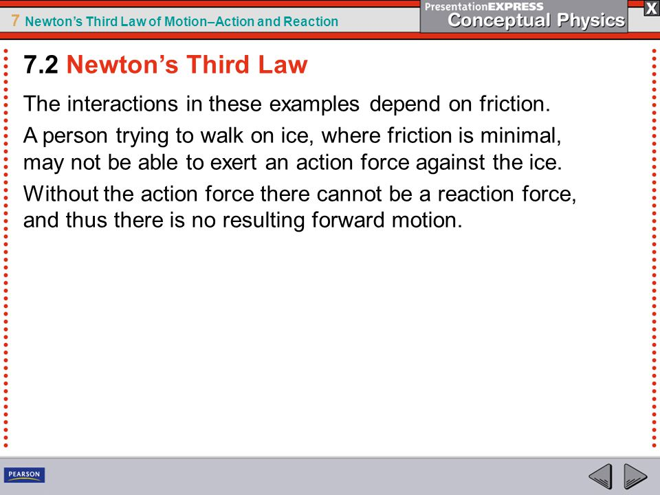 7 Newton's Third Law of Motion–Action and Reaction The interactions in these examples depend on friction. A person trying to walk on ice, where fricti