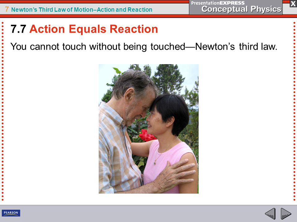 7 Newton's Third Law of Motion–Action and Reaction You cannot touch without being touched—Newton's third law. 7.7 Action Equals Reaction