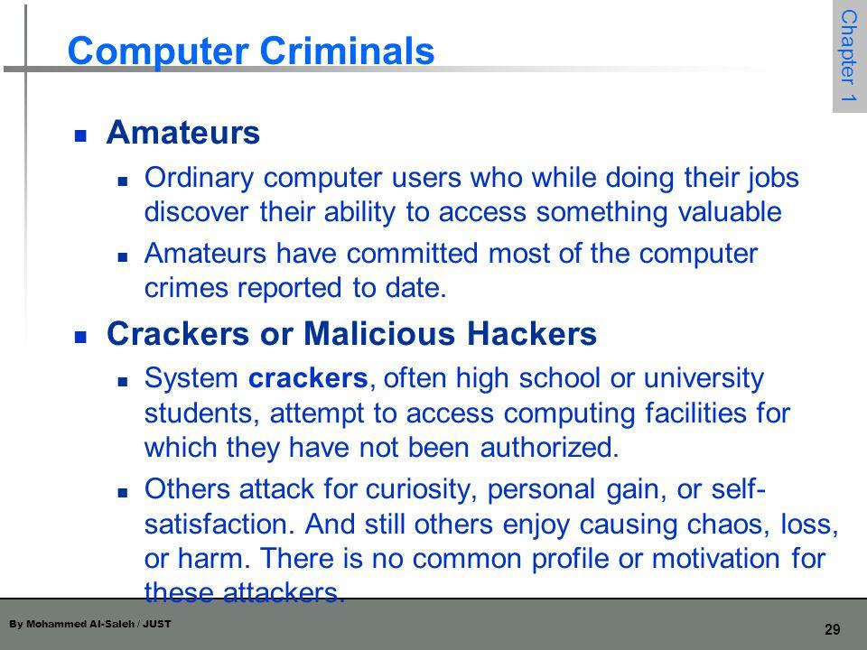 By Mohammed Al-Saleh / JUST 30 Chapter 1 Computer Criminals Career Criminals By contrast, the career computer criminal understands the targets of computer crime.