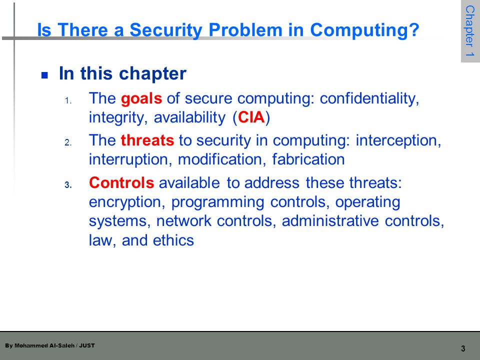 By Mohammed Al-Saleh / JUST 4 Chapter 1 What Does Secure Mean.