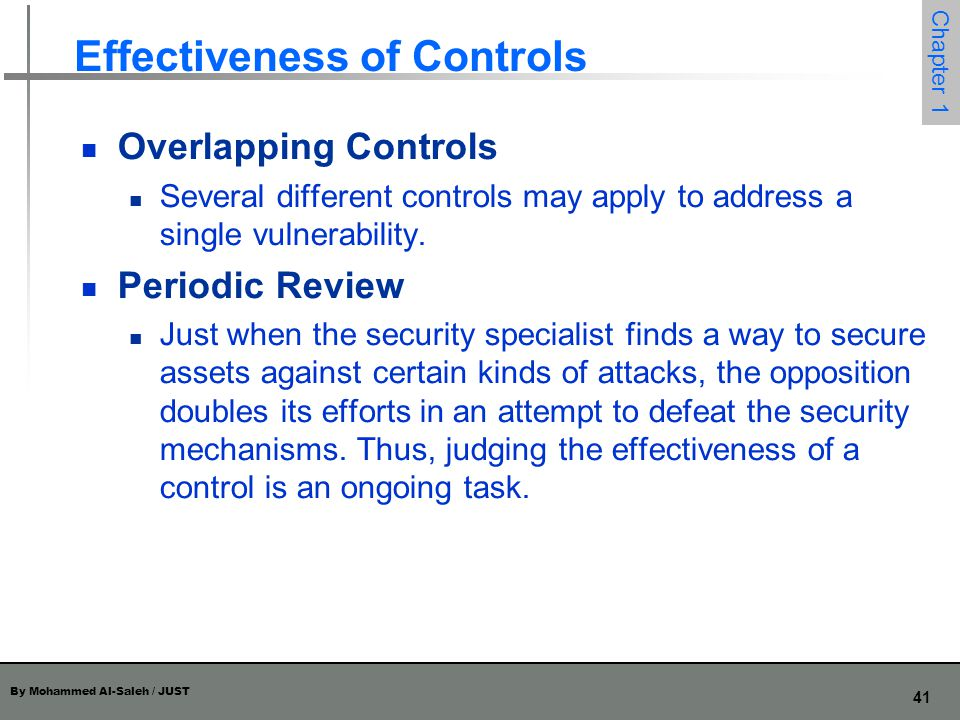 By Mohammed Al-Saleh / JUST 42 Chapter 1 Principle of Weakest Link Security can be no stronger than its weakest link.