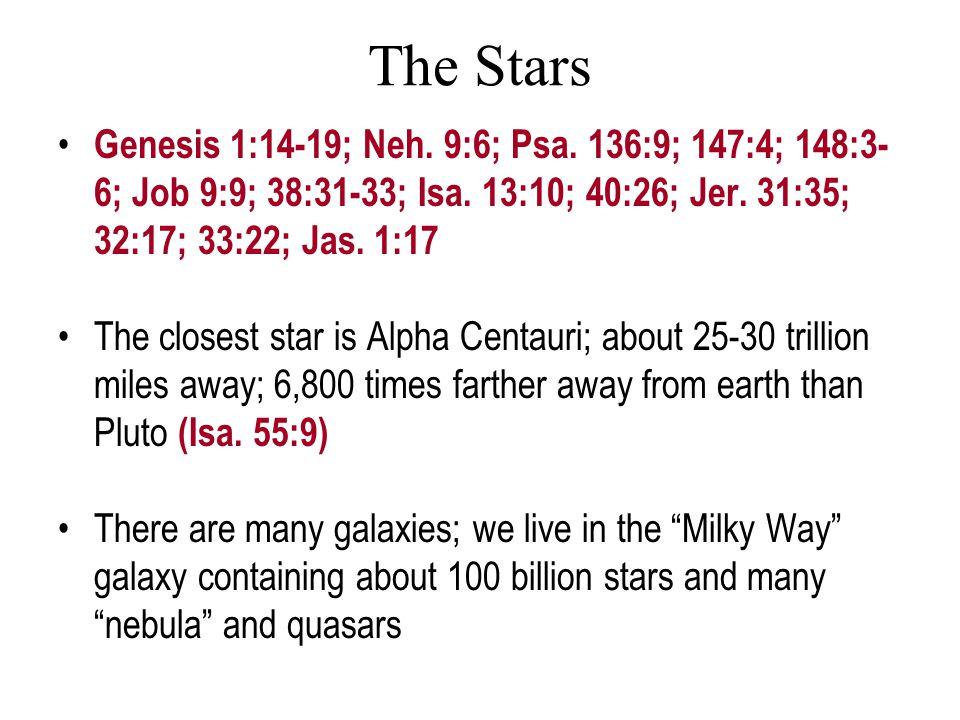The Stars Genesis 1:14-19; Neh. 9:6; Psa. 136:9; 147:4; 148:3- 6; Job 9:9; 38:31-33; Isa.