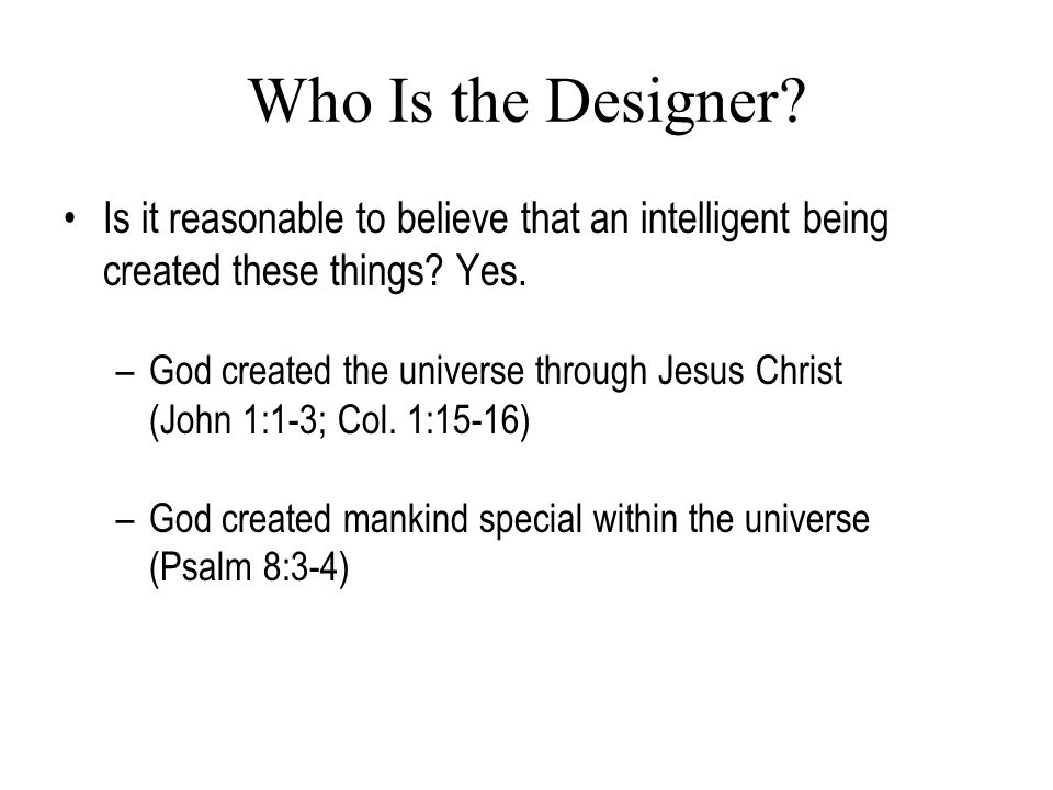 Who Is the Designer? Is it reasonable to believe that an intelligent being created these things? Yes. –God created the universe through Jesus Christ (