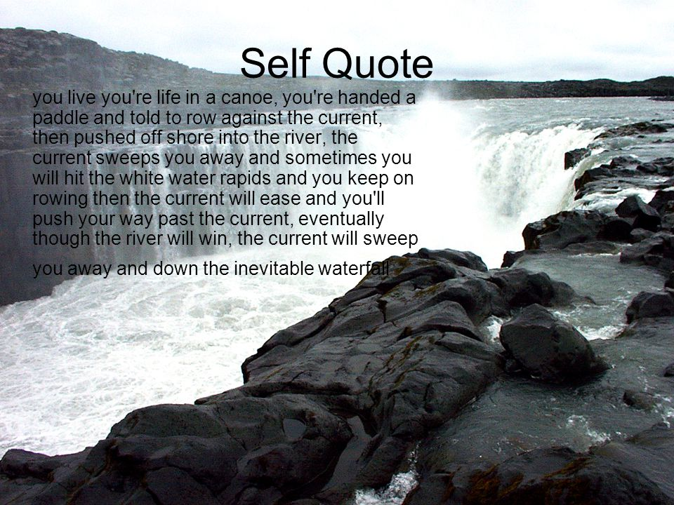 Self Quote you live you're life in a canoe, you're handed a paddle and told to row against the current, then pushed off shore into the river, the curr