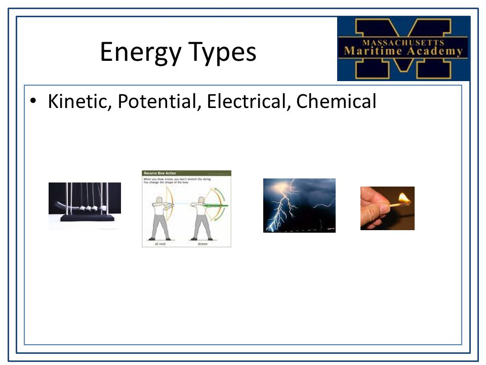 Energy Types Kinetic, Potential, Electrical, Chemical
