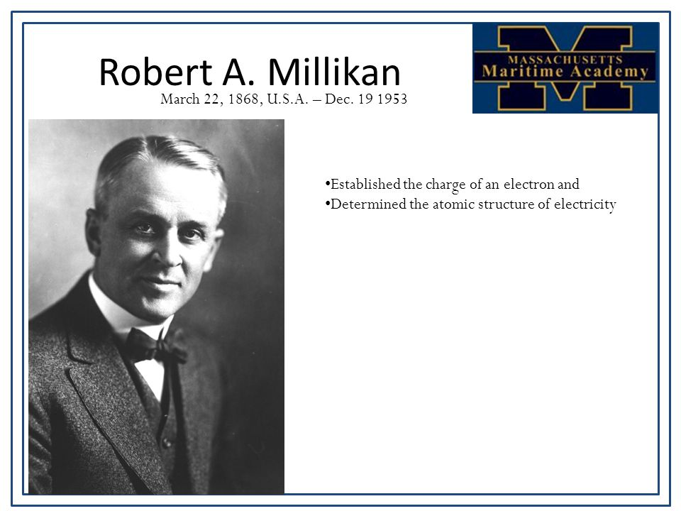 Robert A. Millikan March 22, 1868, U.S.A. – Dec.