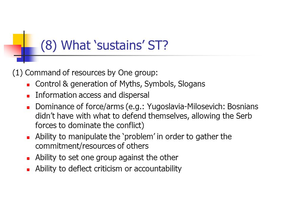 (8) What 'sustains' ST.