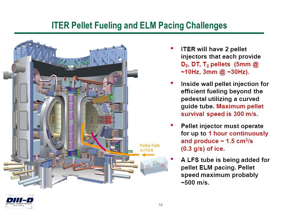 Jul-2007 - LRB 14 ITER will have 2 pellet injectors that each provide D 2, DT, T 2 pellets (5mm @ ~10Hz, 3mm @ ~30Hz). Inside wall pellet injection fo