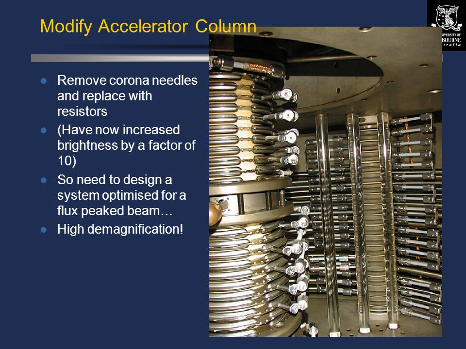 © David N. Jamieson 1999 Modify Accelerator Column Remove corona needles and replace with resistors (Have now increased brightness by a factor of 10)