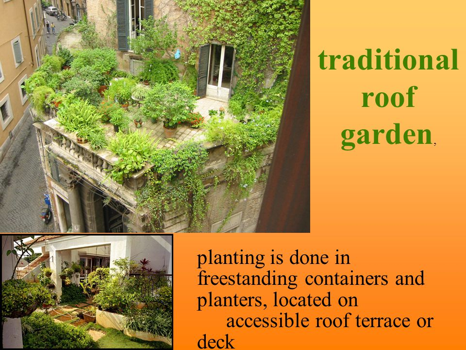 green roof green space created by adding layers of growing medium and plants on top of a traditional roofing system