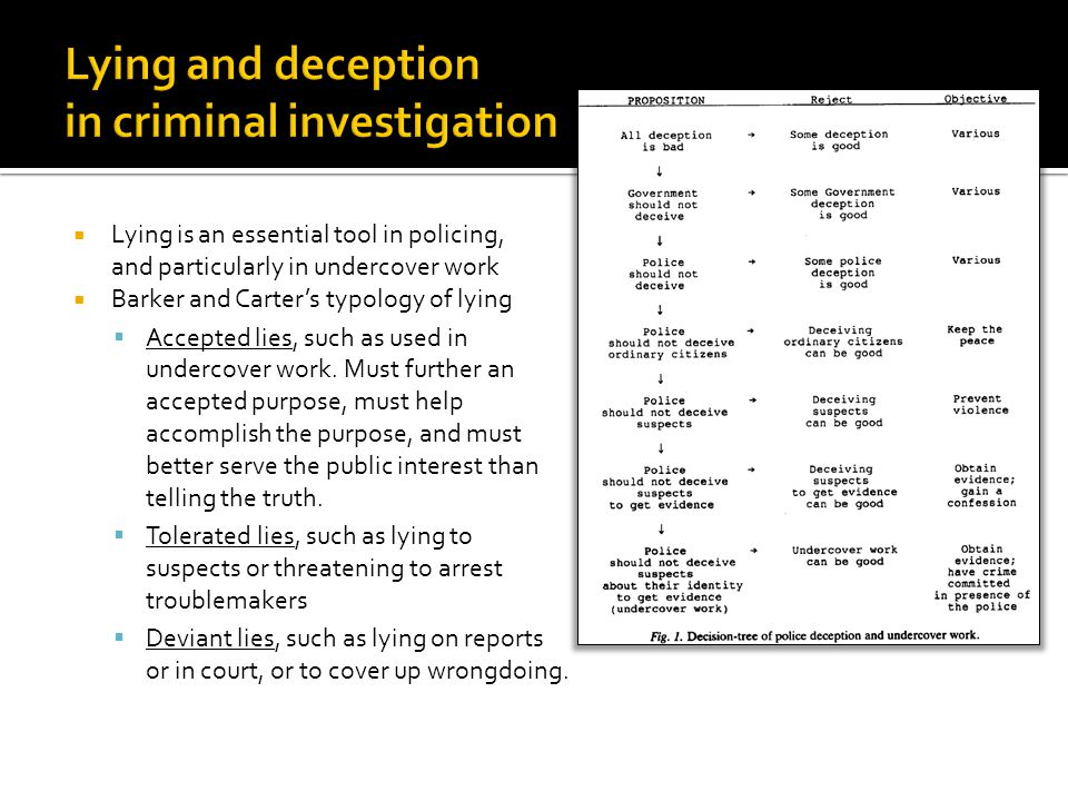  Lying is an essential tool in policing, and particularly in undercover work  Barker and Carter's typology of lying  Accepted lies, such as used in undercover work.
