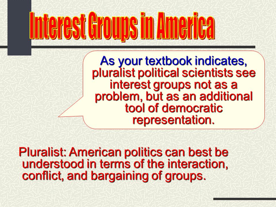 Here are some of those ways They organize groups who share a concern or several concerns They provide a means of political participation participation