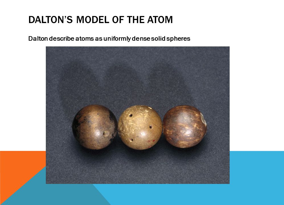 DALTON'S MODEL OF THE ATOM Dalton describe atoms as uniformly dense solid spheres