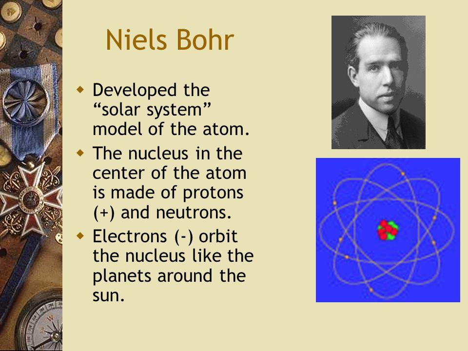 Niels Bohr  Developed the solar system model of the atom.