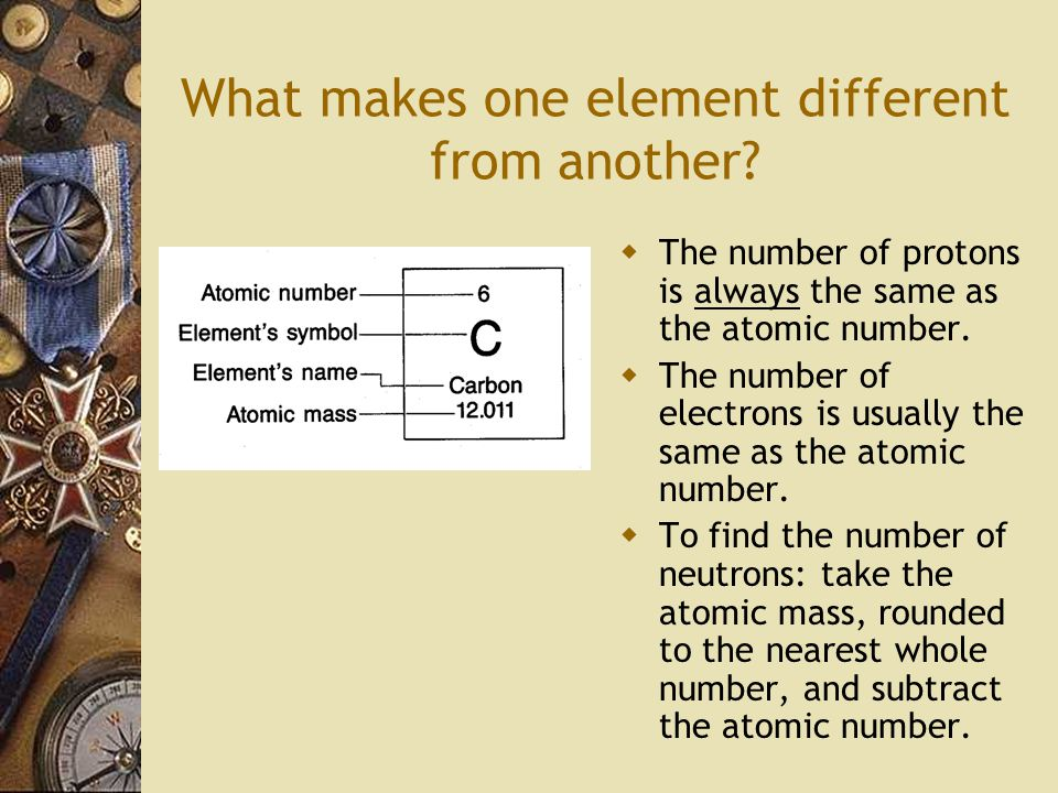 What makes one element different from another.