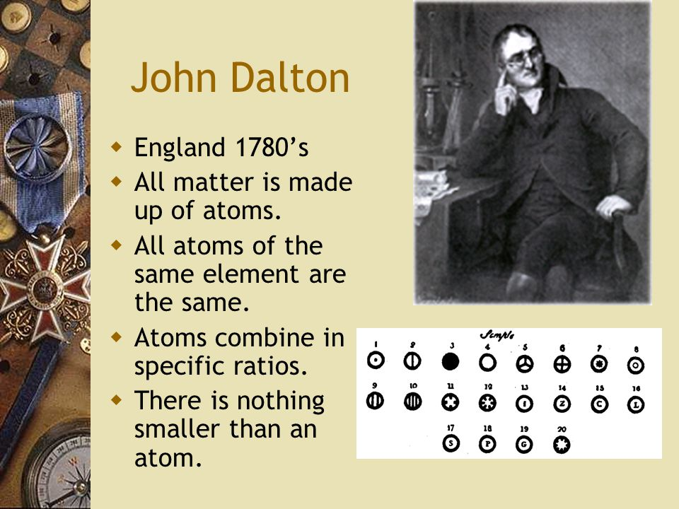 John Dalton  England 1780's  All matter is made up of atoms.